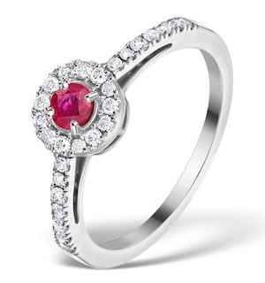 Ruby Halo Martini 0.25CT Diamond Ring in 9K White Gold E5960