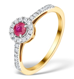 Ruby Halo Martini 0.25CT Diamond Ring in 9K Gold E5961