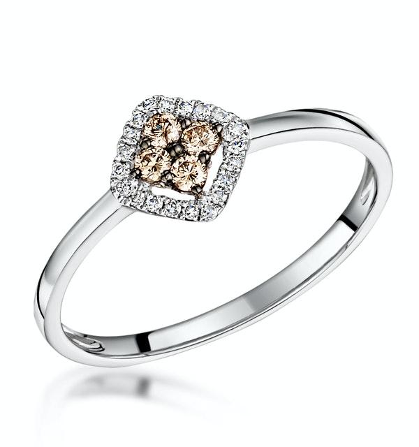 Stellato Champagne Halo Diamond Ring 0.15ct in 9K White Gold - image 1