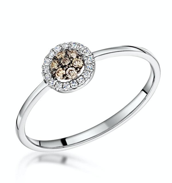 Stellato Champagne Diamond Halo Ring 0.16ct in 9K White Gold - image 1