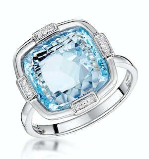 Blue Topaz and Diamond Stellato Ring 0.03ct in 9K White Gold