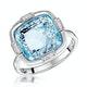 Blue Topaz and Diamond Stellato Ring 0.03ct in 9K White Gold - image 1