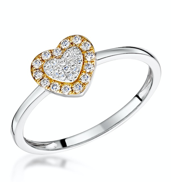 Stellato Collection Halo Diamond Heart Ring 0.16ct in 9K White Gold - image 1