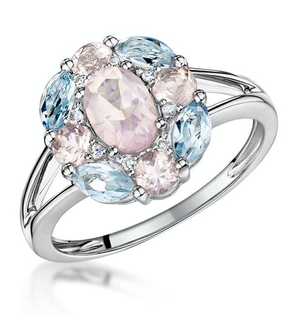 Rose Quartz Blue Topaz and Diamond Stellato Ring in 9K White Gold - image 1