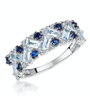 Blue Topaz Sapphire and Diamond Stellato Ring in 9K White Gold