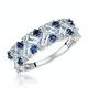 Blue Topaz Sapphire and Diamond Stellato Ring in 9K White Gold - image 1