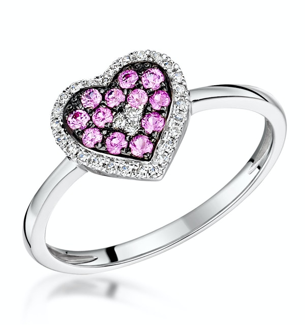Pink Sapphire and Diamond Stellato Heart Ring 0.09ct in 9K White Gold - image 1