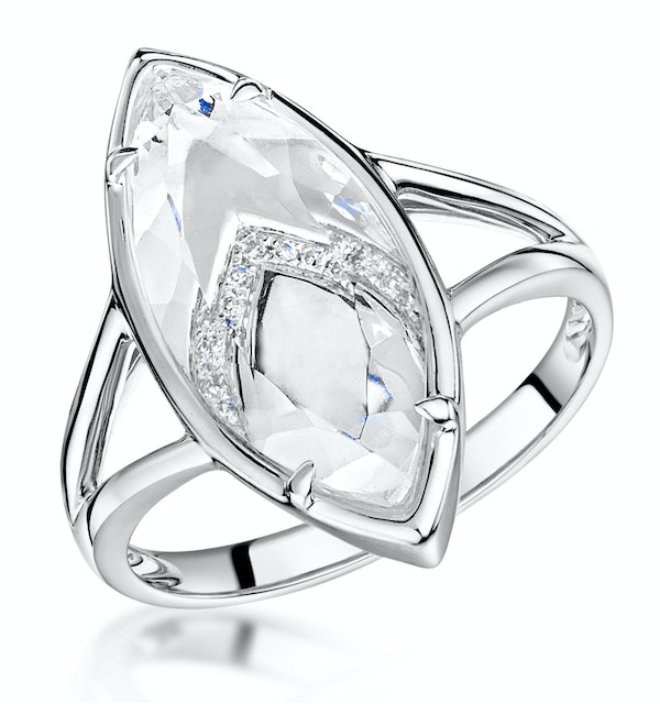 Stellato Collection White Topaz and Diamond Ring in 9K White Gold - image 1
