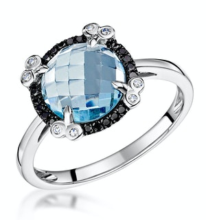 Blue Topaz Black Diamond and Diamond Stellato Ring in 9K White Gold