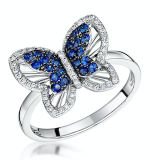 Stellato Collection Sapphire and Diamond Butterfly Ring 9K White Gold