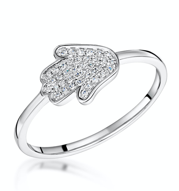 Stellato Collection Hamsa Diamond Ring 0.09ct in 9K White Gold - image 1