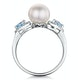 Pearl Blue Topaz and Diamond Stellato Ring 0.07ct in 9K White Gold - image 3