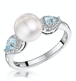 Pearl Blue Topaz and Diamond Stellato Ring 0.07ct in 9K White Gold