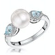 Pearl Blue Topaz and Diamond Stellato Ring 0.07ct in 9K White Gold - image 1
