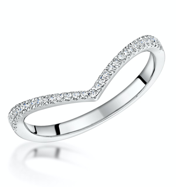 Stellato Collection Diamond Wishbone Ring 0.12ct in 9K White Gold - image 1
