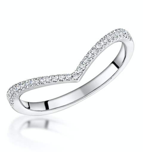 Stellato Collection Diamond Wishbone Ring 0.12ct in 9K White Gold - image 1