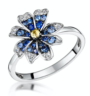 Blue Sapphire Yellow Sapphire and Diamond Stellato Ring 9K White Gold