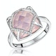 Stellato Collection Rose Quartz and Diamond Ring 9K White Gold - image 1