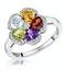 Citrine Garnet Peridot Blue Topaz Diamond Stellato Ring 9K White Gold - image 1