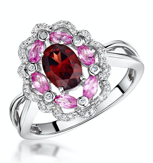 Garnet Pink Sapphire and Diamond Stellato Ring 0.14ct in 9K White Gold - image 1