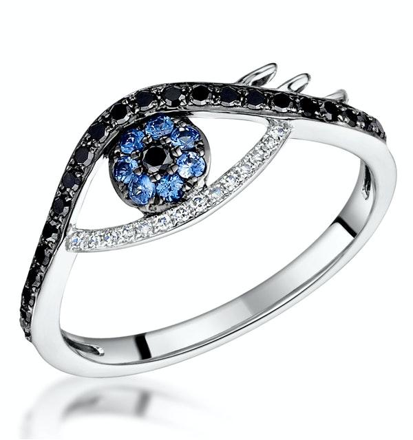 Black Diamond Sapphire Evil Eye Hamsa Stellato Ring in 9K White Gold - image 1