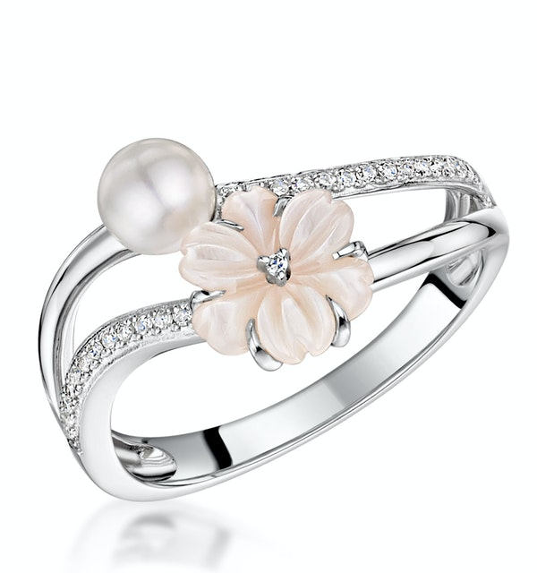 4.5mm Pearl with Shell and Diamond Stellato Ring in 9K White Gold - image 1