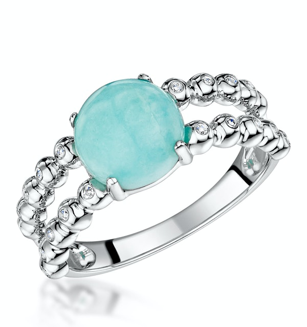 Stellato Collection Amazonite and Diamond Ring in 9K White Gold - image 1