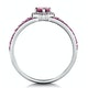 Rhodolite Pink Sapphire and Diamond Stellato Heart Ring 9K White Gold - image 3