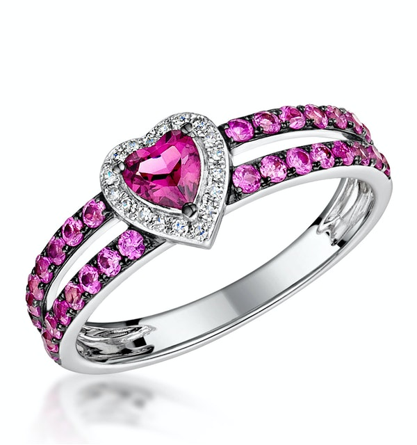 Rhodolite Pink Sapphire and Diamond Stellato Heart Ring 9K White Gold - image 1