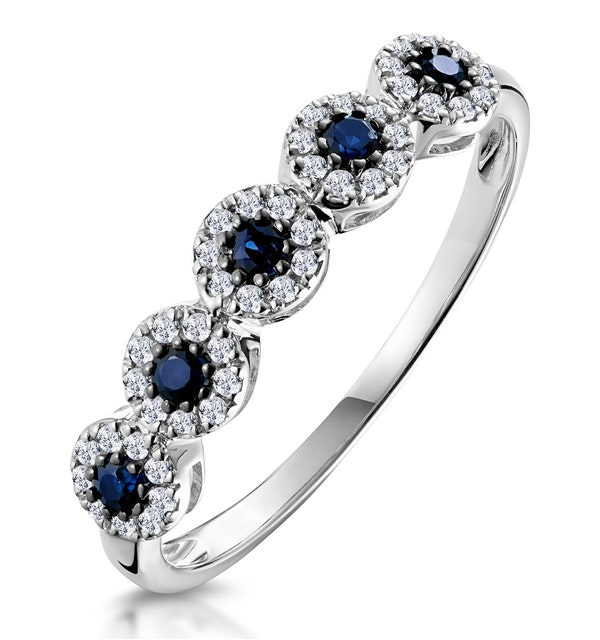 Sapphire and Halo Diamond Stellato Eternity Ring in 9K White Gold - image 1