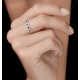 Sapphire and Halo Diamond Stellato Eternity Ring in 9K White Gold - image 2