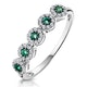 Emerald and Halo Diamond Stellato Eternity Ring in 9K White Gold - image 1