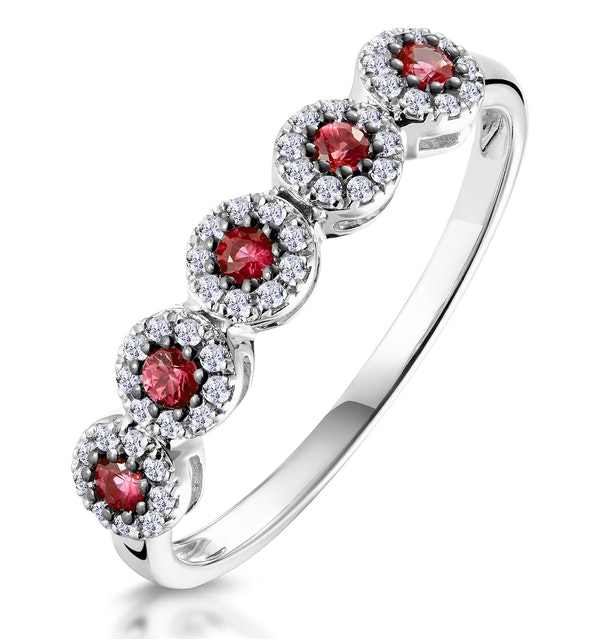 Ruby and Halo Diamond Stellato Eternity Ring in 9K White Gold - image 1