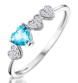0.39ct Swiss Blue Topaz and Stellato Diamond Ring in 9K White Gold