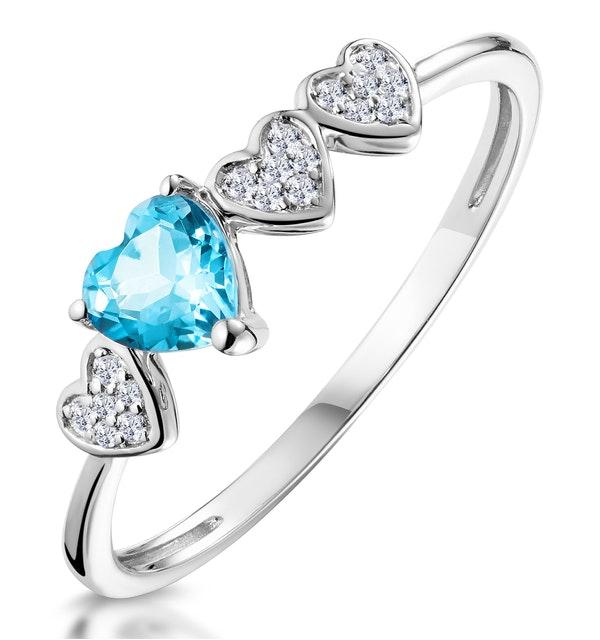 0.39ct Swiss Blue Topaz and Stellato Diamond Ring in 9K White Gold - image 1