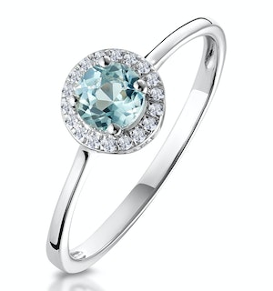 0.37ct Aquamarine and Diamond Stellato Ring in 9K White Gold