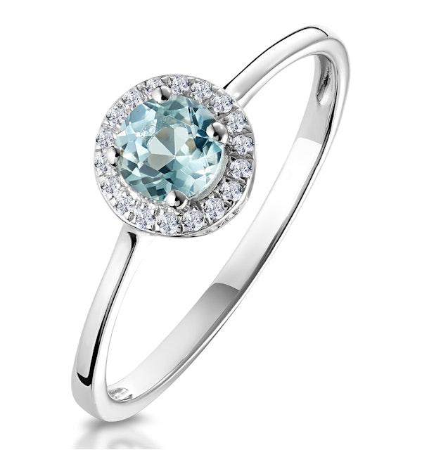 0.37ct Aquamarine and Diamond Stellato Ring in 9K White Gold - image 1