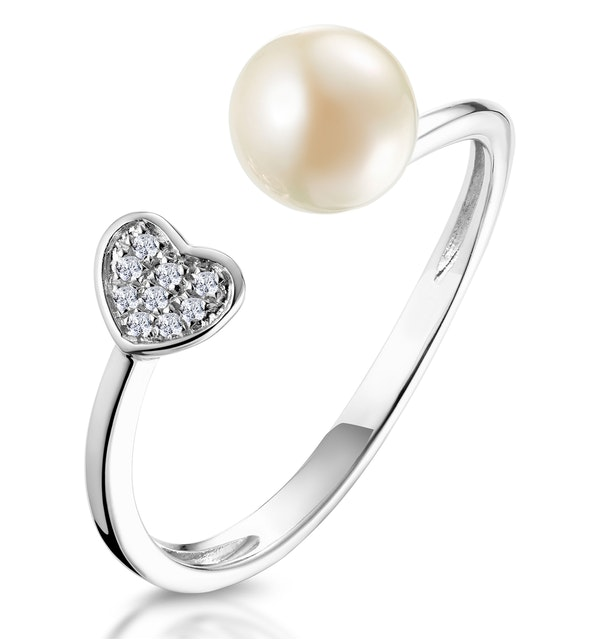 Pearl and Diamond Heart Ring in 9K White Gold - Stellato Collection - image 1
