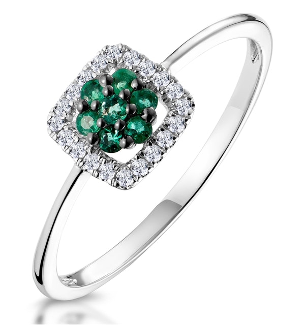 0.13ct Emerald and Diamond Stellato Ring in 9K White Gold - image 1