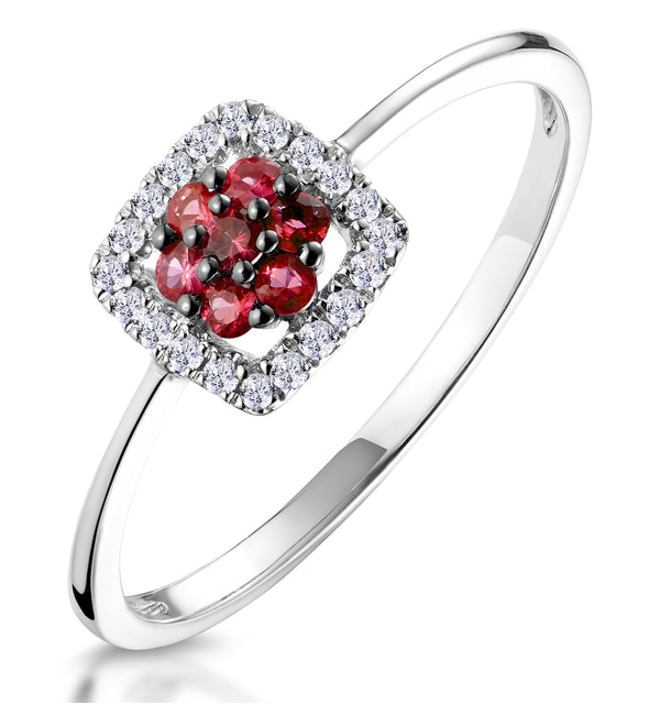 0.15ct Ruby and Diamond Ring in 9K White Gold - Stellato Collection - image 1