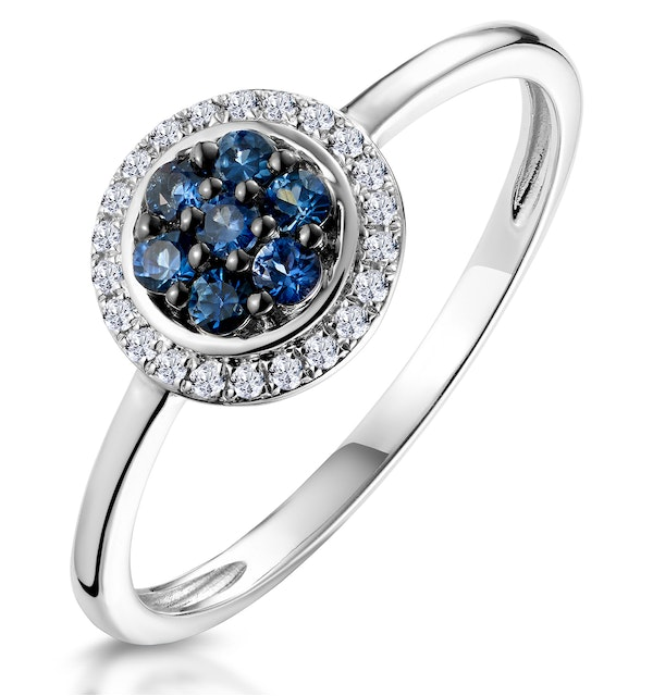 0.20ct Sapphire and Diamond Stellato Ring in 9K White Gold - image 1