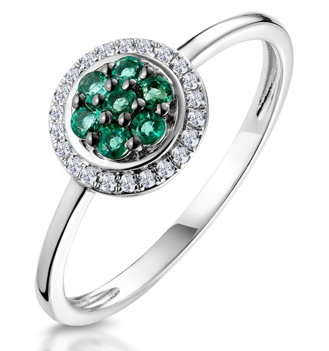0.16ct Emerald and Diamond Ring in 9K White Gold - Stellato Collection - image 1