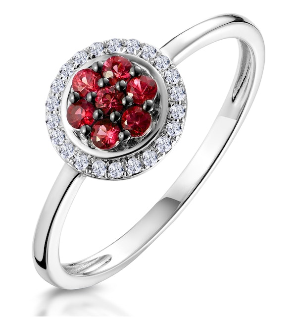 0.22ct Ruby and Diamond Ring in 9K White Gold - Stellato Collection - image 1