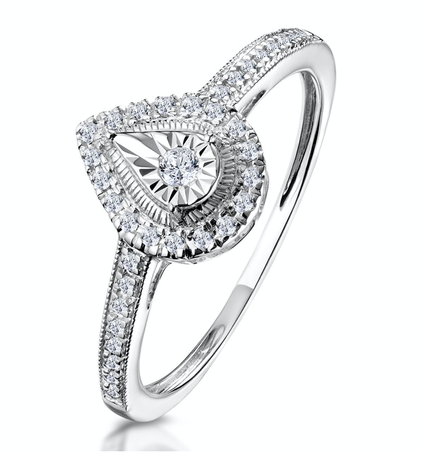 Masami Pear Shaped Pave Diamond Engagement Ring 0.15ct 9K White Gold - image 1