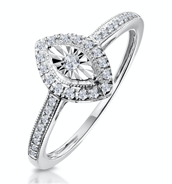 Masami Marquise Diamond Engagement Ring Halo Pave Set in 9K White Gold - image 1