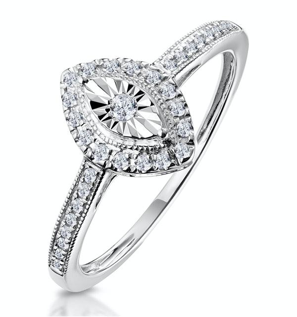 Masami Marquise Diamond Engagement Ring Halo Pave Set in 9K White Gold - image 1