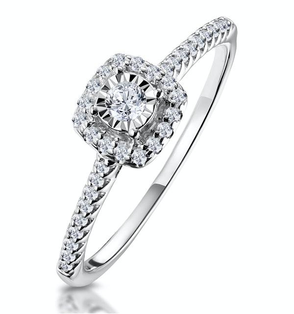 Masami Diamond Halo Engagement Ring 0.25ct Pave Set in 9K White Gold - image 1