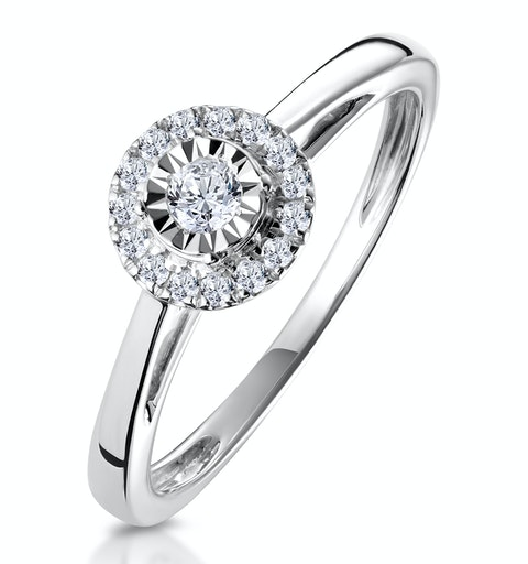 Masami Diamond Engagement Ring 0.20ct Pave Set Halo in 9K White Gold - image 1