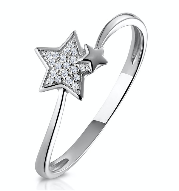 Shooting Star Diamond Ring Stellato Collection in 9K White Gold - image 1
