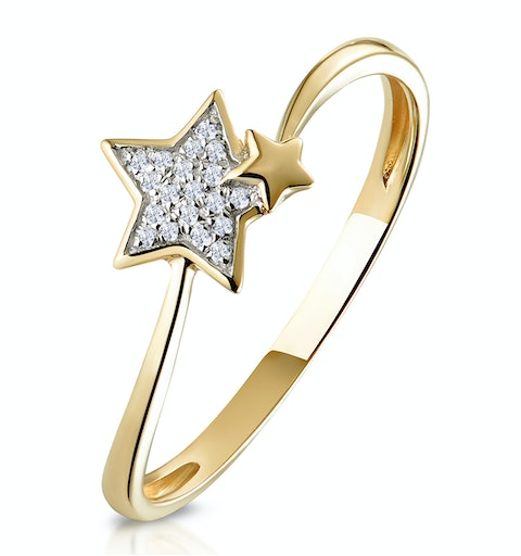 Stellato Collection Shooting Star Diamond Ring in 9K Gold - image 1